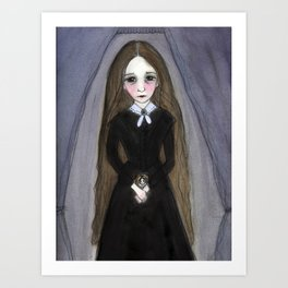 Miss Claire and Anna, Victorian Goth Portrait Art Print