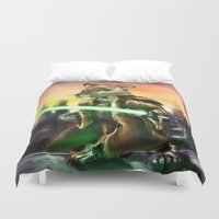jedi Duvet Covers featuring Gerbil Jedi by Wesley S Abney