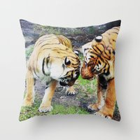 tigers Throw Pillows featuring Tigers by Irene Jaramillo