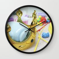 crown Wall Clocks featuring Crown by Faith Buchanan
