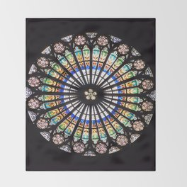 Stained glass cathedral rosette Throw Blanket