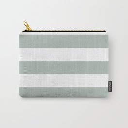 Ash gray - solid color - white stripes pattern Carry-All Pouch