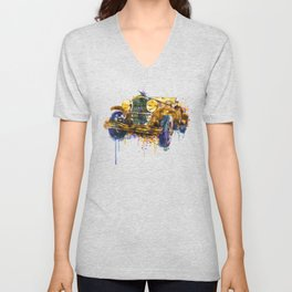 Oldtimer Automobile Watercolor Painting Unisex V-Neck