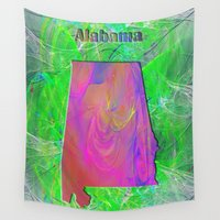 alabama Wall Tapestries featuring Alabama Map by Roger Wedegis
