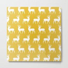 Mid Century Modern Deer Pattern Mustard Yellow Metal Print