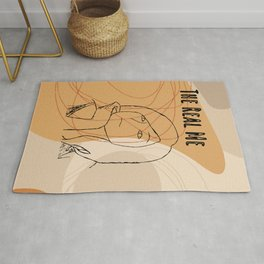 The Real Me, Original Printable Beauty Face, Girl In One Line Drawing, Elegant Female Sketch Poster Rug