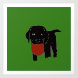 Black Lab Puppy Art Print