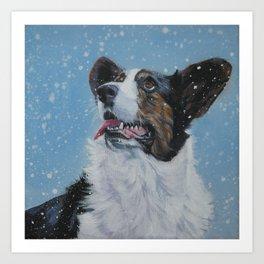 The Cardigan Welsh Corgi dog art portrait from an original painting by L.A.Shepard Art Print