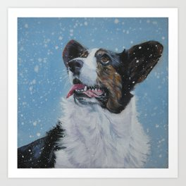 The Cardigan Welsh Corgi dog art portrait from an original painting by L.A.Shepard Art Print