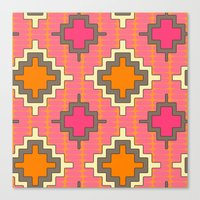 kilim Canvas Prints featuring tangerine kilim by Sharon Turner