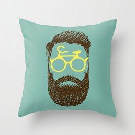 Hipster Biker Throw Pillow