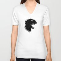 t rex V-neck T-shirts featuring t-rex by barmalisiRTB