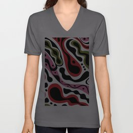 Beat Goes On - red and pink Unisex V-Neck