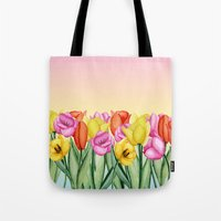 tulips Tote Bags featuring Tulips by Julia Badeeva