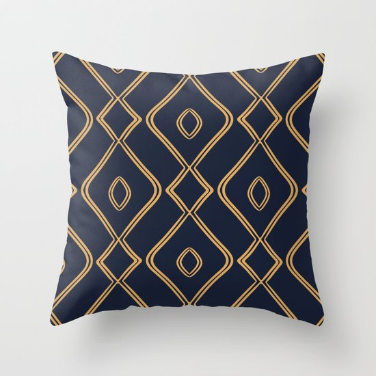 Modern Boho Ogee in Navy & Gold by beckybailey1