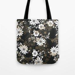 Modern black white faux gold elegant floral Tote Bag