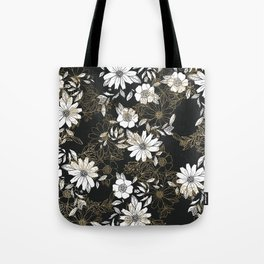 Modern black white faux gold elegant floral Tote Bag