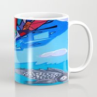 transformer Mugs featuring Trippy Transformer Bird Mixed Media Painting on Canvas by VibrationsArt