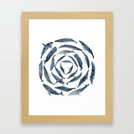 Circular Blue Wales Framed Art Print