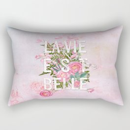 LAVIE EST BELLE - Watercolor - Pink Flowers Roses - Rose Flower Rectangular Pillow