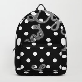 Retro Black and White Polka Dot with Couples' Names in Silver Backpack