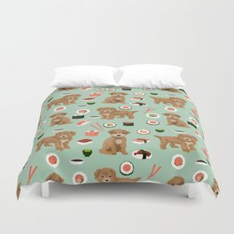 Bichpoo sushi dog breed cute pet portrait pet friendly pattern dog lover gifts Duvet Cover