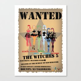 Wanted: The Witches 5 Canvas Print