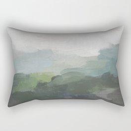 Dark Green Seafoam Teal Valley Horizon Gray Cloudy Skies Abstract Nature Ocean Painting Art Print Wall Decor  Rectangular Pillow