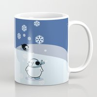 penguins Mugs featuring penguins by cara cheng