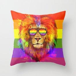 Rainbow Lion Pride Throw Pillow