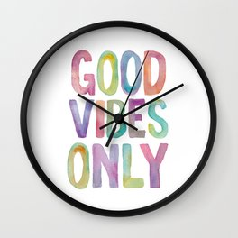 Good Vibes Only Watercolor Rainbow Typography Poster Inspirational childrens room nursery Wall Clock