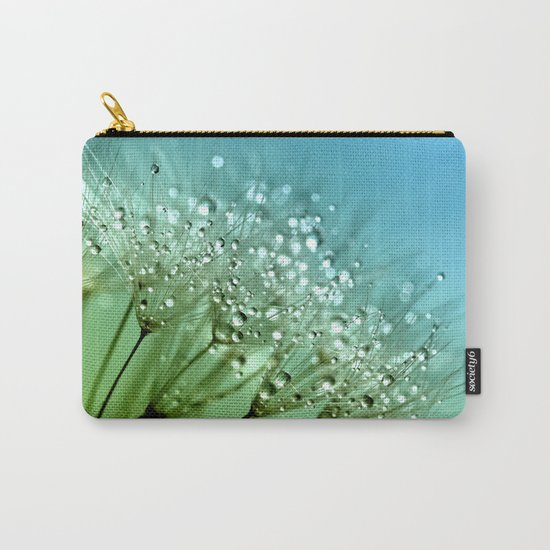 Aqua Sparkling dewdrops on a Dandelion- Flower Flowers Carry-All Pouch
