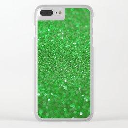Bright Green Glitter Clear iPhone Case