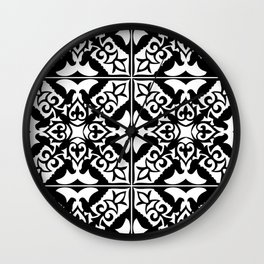 Moroccan Tile Pattern in Black and White Wall Clock