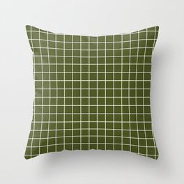 Army green - green color -  White Lines Grid Pattern Throw Pillow