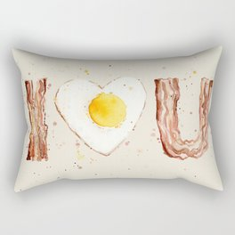 Bacon and Egg I love You Breakfast Food I heart Rectangular Pillow