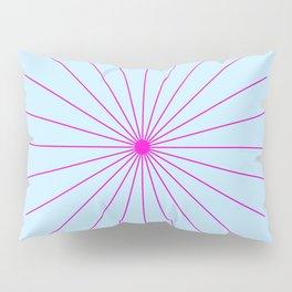 SpikeyBurst - Pastel Blue with Bright Pink Pillow Sham