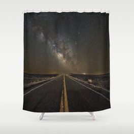 Go Beyond - Road Leads Into Milky Way Galaxy Shower Curtain