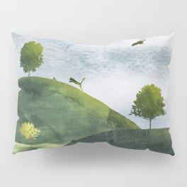 Landscape wildlife in watercolor Pillow Sham