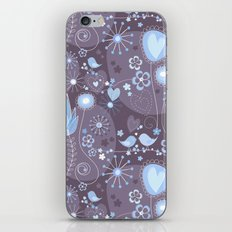 Whimsical garden in grey and blue iPhone & iPod Skin