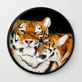 Tiger cub and mom (cheek-bump) Wall Clock