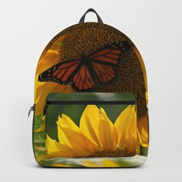 The butterfly the bee and the sunflower Backpack