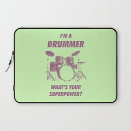 I'm Drummer What's Your Superpower Funny Drums Vintage Drumming Distressed Laptop Sleeve