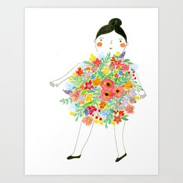 Bonne femme fleurie Art Print