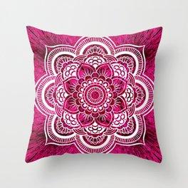 Mandala Hot Pink Colorburst Throw Pillow