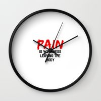 pain Wall Clocks featuring Pain by Spooky Dooky