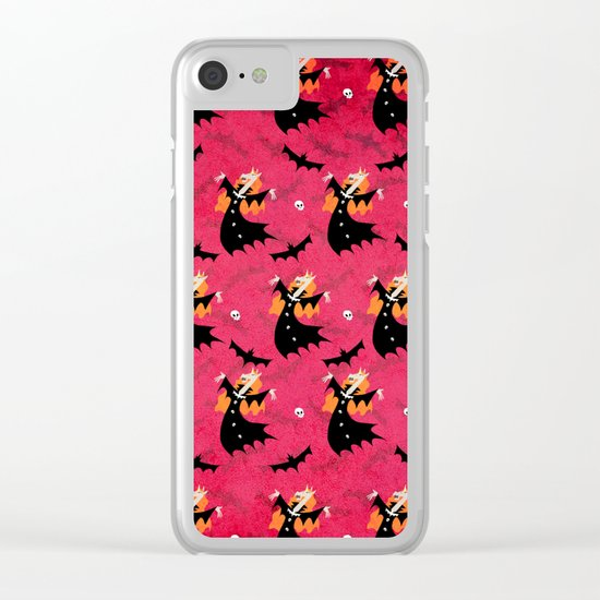 Unicorn Vampire Pattern Clear iPhone Case
