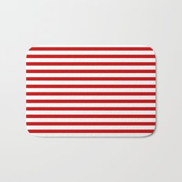 Red and White Stripes Bath Mat