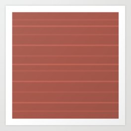 Subtle Stripes Pattern in Rich Warm Burnt Sienna Adobe Clay Earth Tones Art Print