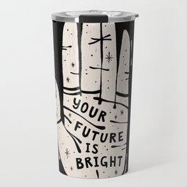 Your Future is Bright Hand Drawn Palmistry Illustration     Ivory on Black   Alex Gold Studios Travel Mug
